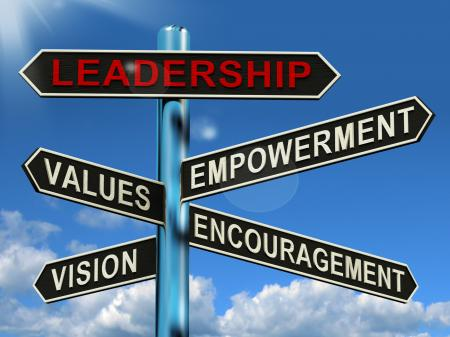 Leadership Signpost Showing Vision Values Empowerment and Encouragemen