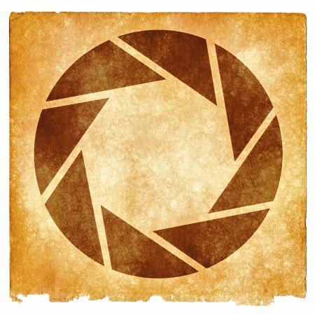 Lens Aperture Grunge Symbol - Sepia