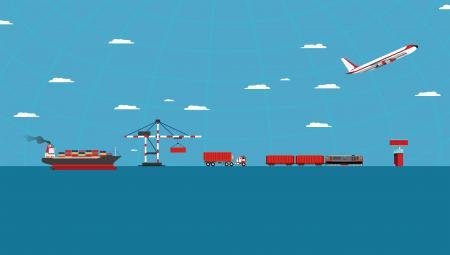 Logistics concept with cargo transportation