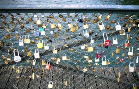 Love Inscribed Padlocks on the Pont Des Arts Bridge in Paris
