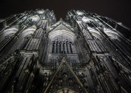 Low Angle Photography of Gray Concrete Cathedral at Nighttime