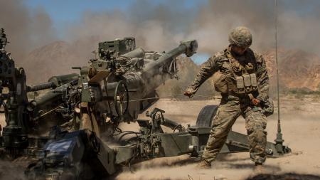 M777 Howitzer Artillery Firing