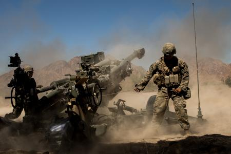 M777 Howitzer Gun in Action