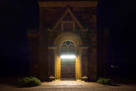 Main entrance Brastad Church at night