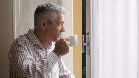 man drinking tea