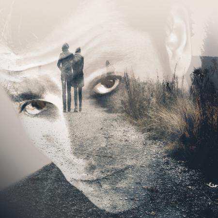 Man remembering his girlfriend - Double Exposure Effect