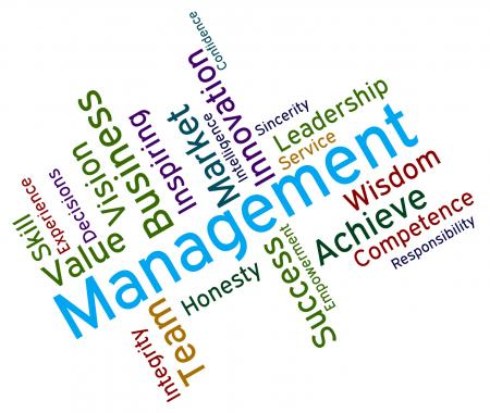 Management Words Shows Directors Bosses And Head