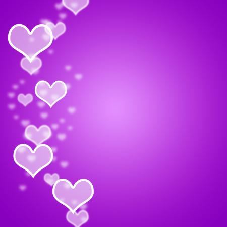 Mauve Hearts Bokeh Background With Blank Copyspace Showing Love And Ro