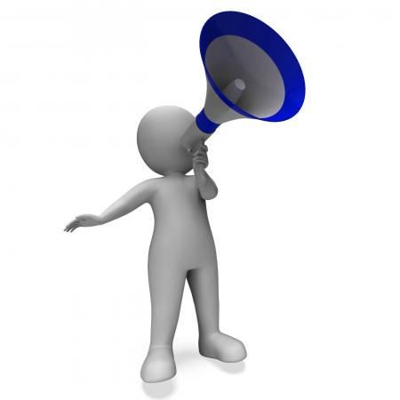 Megaphone Message Character Shows Announcements Proclaiming And Announ