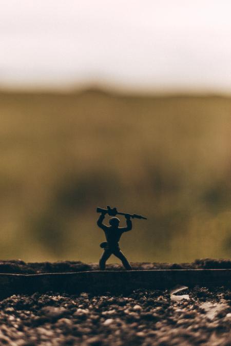 Miniature Soldier on a Windowsill