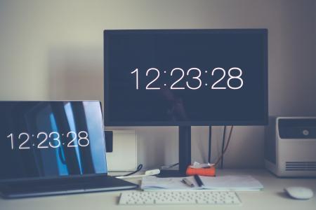 Monitor Displaying 12:23:28