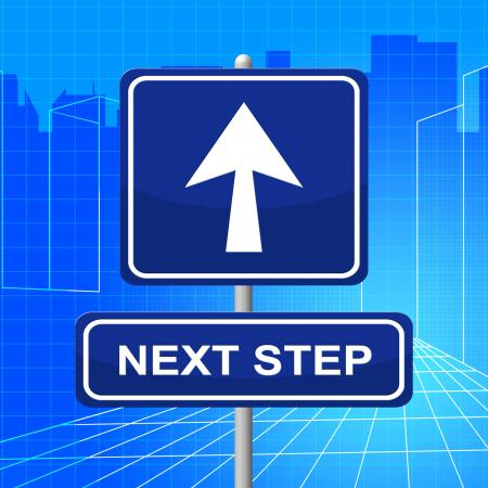 Next Step Represents Arrow Display And Progression