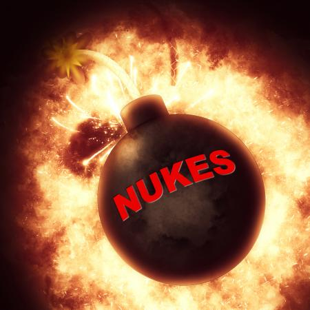 Nuclear Bomb Indicates Explosive Atom And Apocalypse