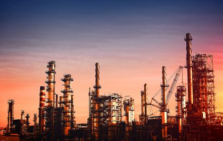 Oil Refinery at Dusk - Vivid Colors