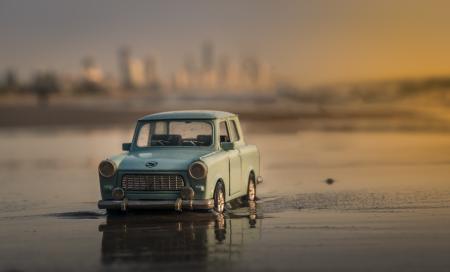 Old car on beach