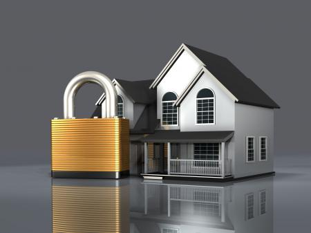 Padlock And House Showing Building Security