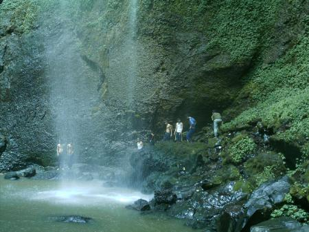 People Under The Waterfall