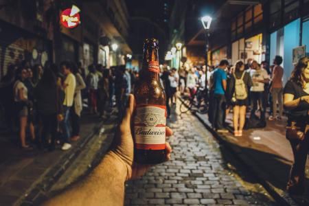 Person Holding Budweiser Bottle
