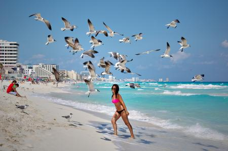 Photo of a Woman Under Flying Seagulls