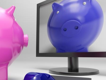 Piggy On Screen Shows Online Bank Savings