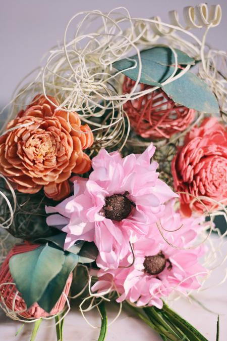 Pink and Red Artificial Flowers Bouquet
