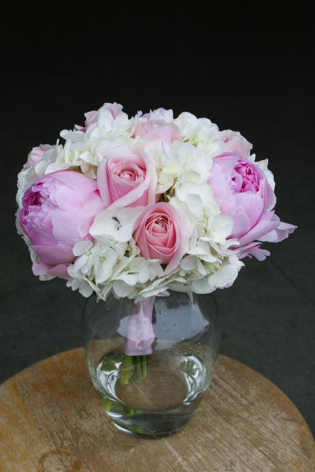 Pink and White Rose Flower Arrangement in Vase