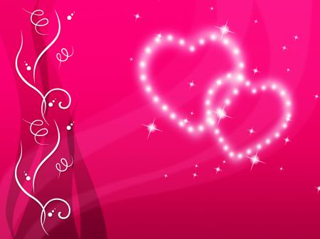 Pink Hearts Background Means Love Family And Floral