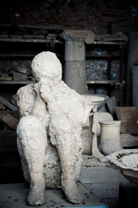 Plaster cast of a Pompeii chariot driver
