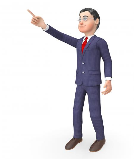 Pointing Character Means Hand Up And Commercial 3d Rendering