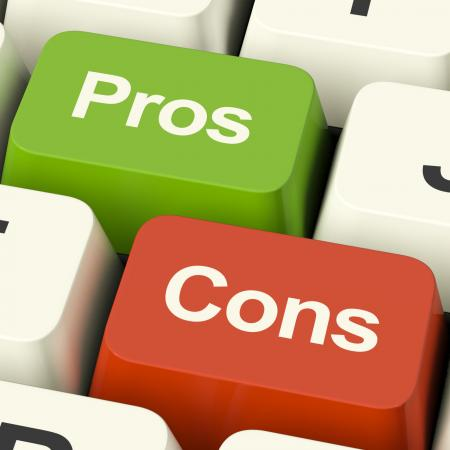 Pros Cons Computer Keys Showing Plus And Minus Alternatives Analysis A
