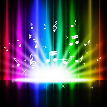 Rainbow Curtains Background Means Music Songs And Stage