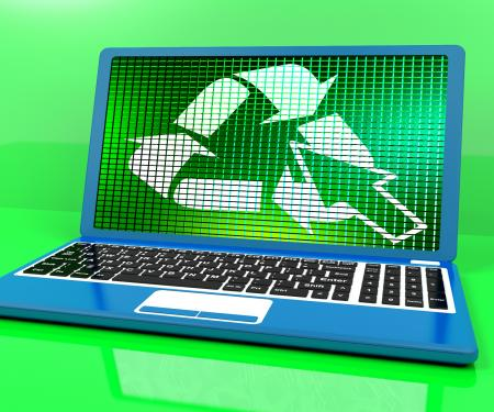 Recycle Icon On Laptop Showing Recycling And Eco Friendly