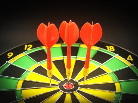 Red 3 Dart Pin on Black Green and Yellow Dartboard