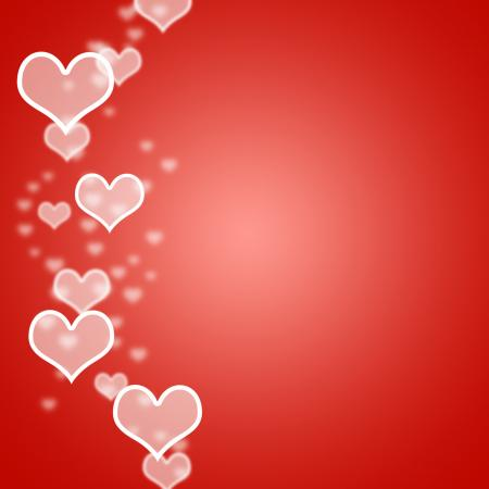 Red Hearts Bokeh Background With Blank Copyspace Showing Love And Roma