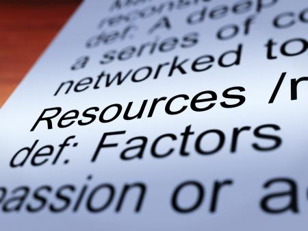 Resources Definition Closeup Showing Materials And Assets