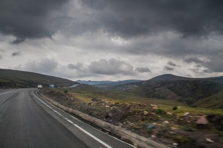 Cloudy on highway