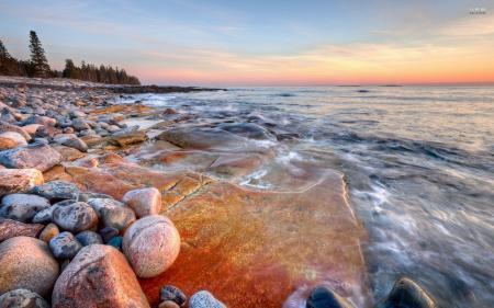 Rocky water shore