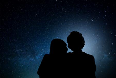 Romantic couple watching the stars