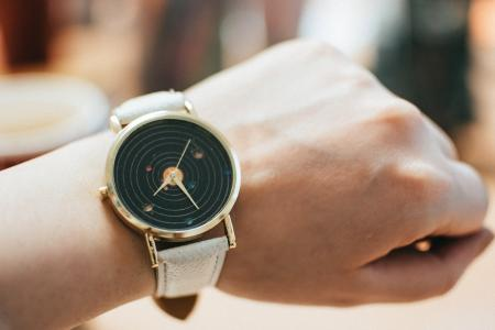 Round Gold-colored Black Analog Watch With Grey Leather Band