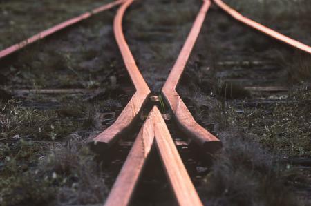 Selective-focus Photography of Train Rail