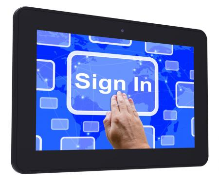 Sign In Tablet Touch Screen Shows Website Logins And Sign in