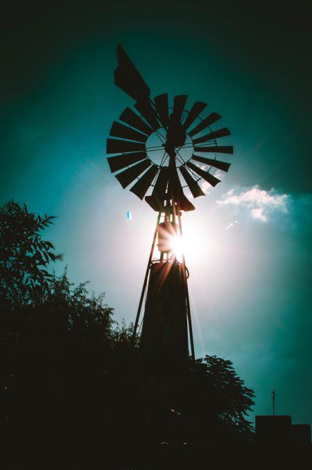 Silhouette of Farm Windmill