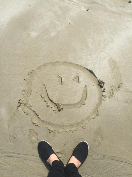 Smiley Drawing on Sand