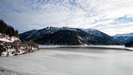 Snow Mountain With White Cloudy Sky