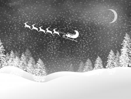 Snowy Christmas night landscape with Santas sled and reindeer