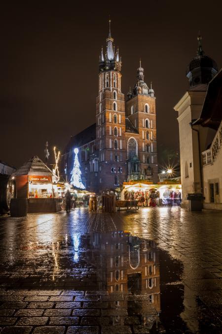 St Mary's Basilica (Kościół Mariacki) during Christmas, Krakow, Poland
