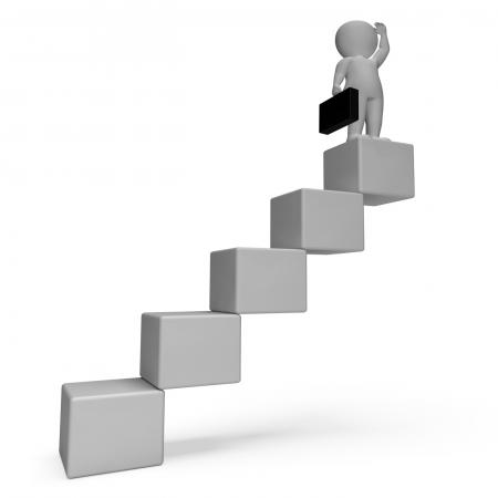 Stairs Character Indicates Business Person And Achieve 3d Rendering