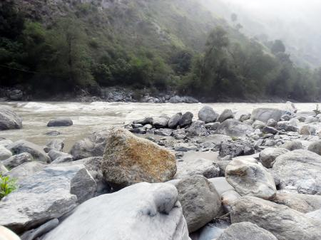 Stones in a river bank