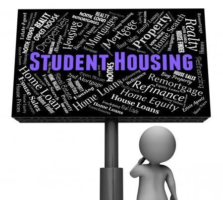 Student Housing Indicates Properties Sign And Homes