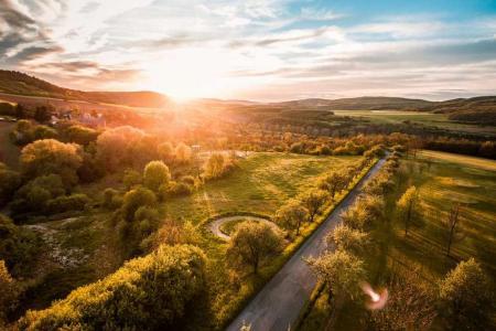 Sunshine sunset near the hills
